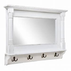 Wandspiegel Groß Weiß : wandspiegel shabby wei verziert spiegel mit metallhaken garderobe landhaus ~ Whattoseeinmadrid.com Haus und Dekorationen