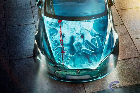 elektroauto tesla model  zombie motorhaube mein elektroauto