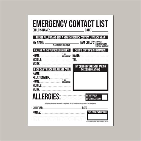 emergency contact form  nanny babysitter