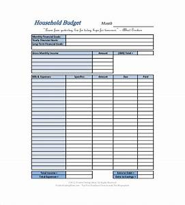 10 household budget templates free sample example With templates for household budgets