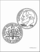 Coloring Dime Clip Coin Clipart Nickel Currency Cent Clipartlook Money Colo Abcteach sketch template