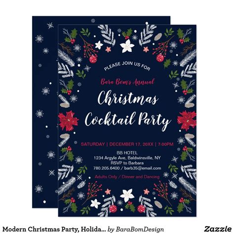 Modern Christmas Party Holiday Party Invitations Zazzle