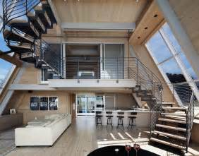 Stunning Space Frame Houses by Beachfront A Frame House With Wide Open Interior Modern