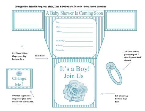 Printable Boy  Ee  Diaper Ee   Invitations  Ee  Diaper Ee   Shaped  Ee  Baby Ee