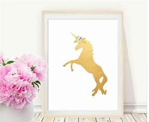 Unicorn print printable art gold wall