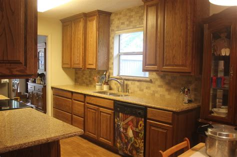 kitchen cabinets painters oak cabinets w chocolate truffle caesarstone and 3155