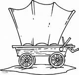 Wagon Coloring Stagecoach Wheel Template Line Covered Drawing sketch template