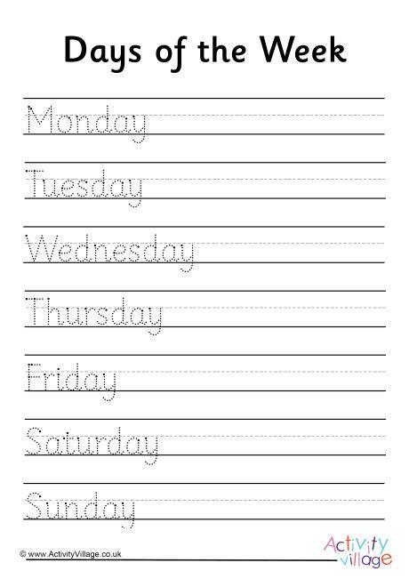 days   week handwriting worksheet