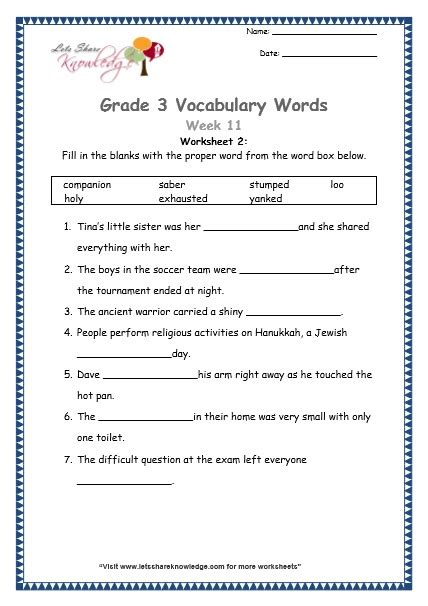 grade 3 vocabulary worksheets week 11 lets knowledge