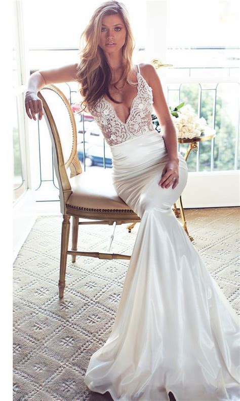 lurelly deep  neck sheath wedding dress wedding dress