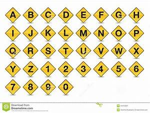 Icon traffic sign alphabet font a z stock vector image for Road sign letters