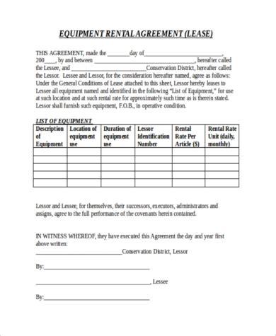 rental agreement letter  word