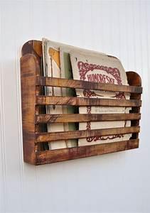 Distressed Hanging Magazine File Menu Holder Rustic Aged ...