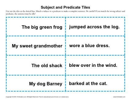 Subject And Predicate Tiles  3rd Grade Worksheets