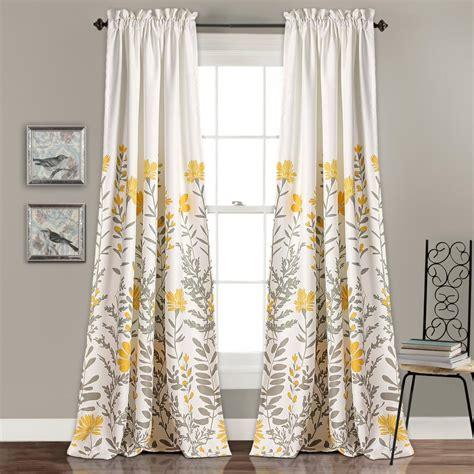yellow floral drapes lush decor aprile window panels yellow 84 in x 52 in