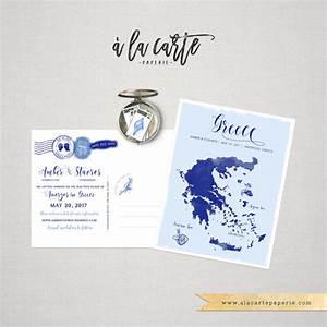 destination wedding save the date postcard greece map greek With greece destination wedding invitations