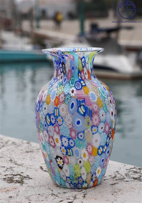 venetian glass vase venetian glass vase harlequin with murrina millefiori