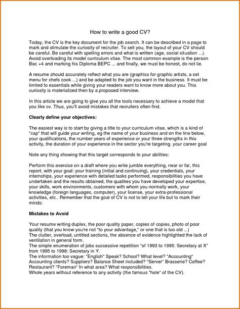 8+ How To Write A Good Cv Example  Lease Template