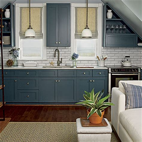 kitchen cabinets painted blue using color in the kitchen coastal living 6295