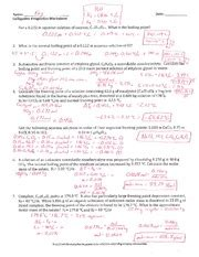 Colligative Properties Worksheet  Key  Name Ki Colligative Properties Worksheet Date 2 What Is
