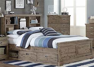Oxford, Cocoa, Bookcase, Full, Bed, With, Storage, From, Ne, Kids
