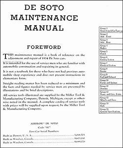1934 De Soto Airflow Repair Shop Manual Original Desoto