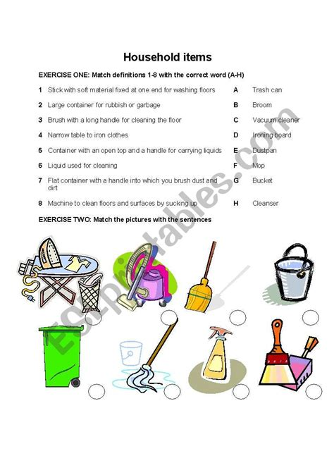 cleaning  house vocabulary esl worksheet  graciela