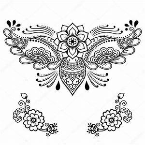 Henna Tattoo Schablonen : henna tattoo bloem sjabloon mehndi stijl set van decoratieve patronen in de oosterse stijl ~ Frokenaadalensverden.com Haus und Dekorationen
