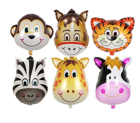 zoo animal balloons monkey giraffe zebra  tiger horse