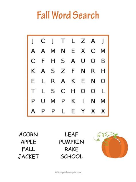 fun fall word search puzzles kittybabylovecom