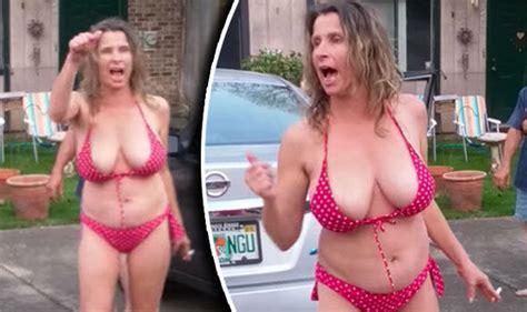 marine le pen bikini racist rant sees drunk bikini clad woman hurl abuse at