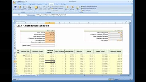 loan amortization calculator installed excel template