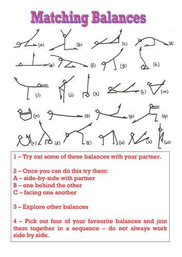gymnastics balances resource cards by kb1989 teaching