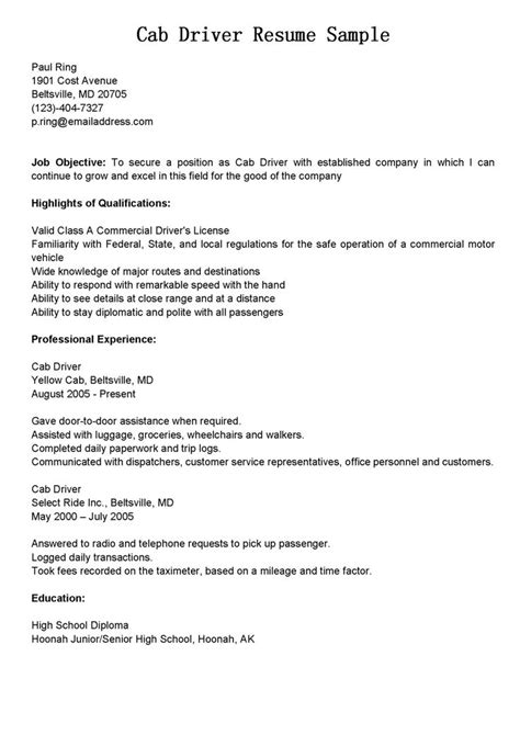 taxi cab driver resume sample  images driver job