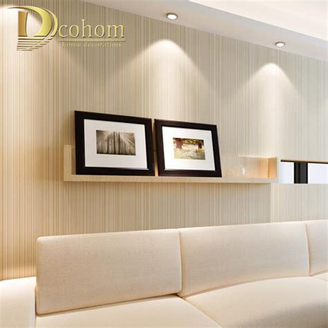 modern minimalist style wall paper striped solid color  woven wallpaper living room tv sofa