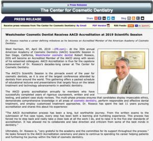 westchester cosmetic dentist receives aacd accreditation