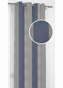 Rideau Jaune Et Bleu : rideau d ameublement rayures et coutures bleu gris jaune homemaison vente en ligne ~ Teatrodelosmanantiales.com Idées de Décoration