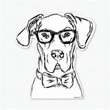 Glasses Dane Decal Drawing Bow Tie Dog Dogs Harvey Sticker Puppy Wearing Owner Lover Cat Zoom Gifts Getdrawings Inkopious Titus sketch template