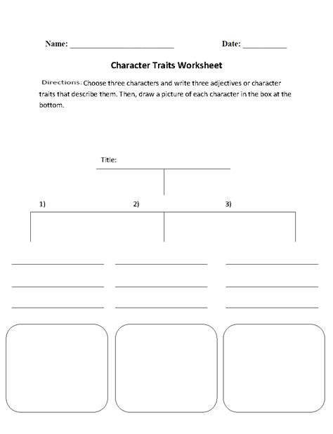 character traits character analysis worksheet middle