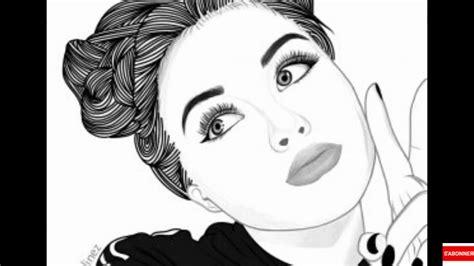 dessin de fille en noir et blanc doriahxgtv