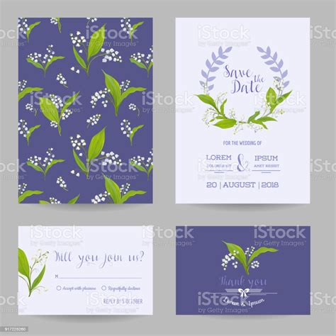 Save The Date Wedding Cards Set With Blossom Lily Flowers