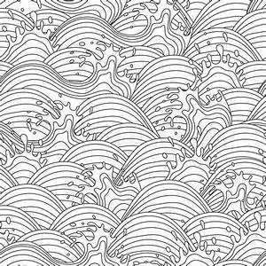 Sea wave background. Seamless pattern. Vector illustration ...