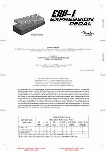 Fender Exp 1 Pedal Quick Start Guide