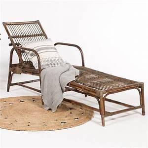 Chaise Bain De Soleil : chaise longue bain de soleil vintage en rotin dossier r glable decoclico ~ Teatrodelosmanantiales.com Idées de Décoration