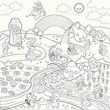 Coloring Candy Sweet Paradise Fun Rainbow Vectors Cupcake sketch template