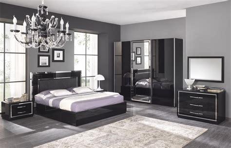 mobilier chambre adulte chambre adulte complète design stef coloris noir laqué