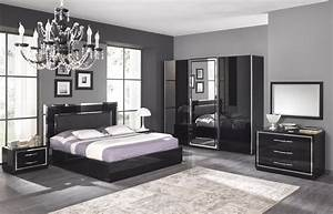 Chambre adulte complete design stef coloris noir laque for Chambre adulte design