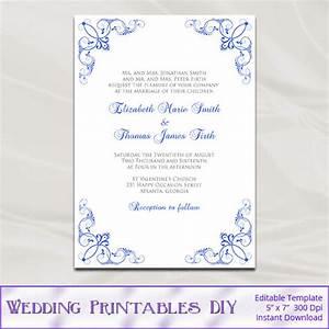 free printable blank wedding invitation templates royal With wedding invitation blank template royal blue