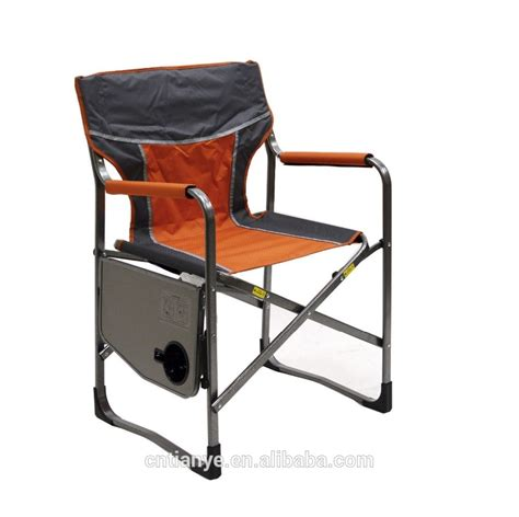 aluminium folding director chair with side table attached