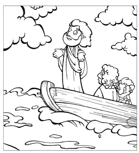 jesus calms  storm coloring page printable coloring pages